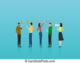 Vector of angry casual people men and women yelling at each other.