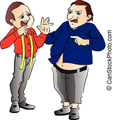 Vector illustration of angry obese customer shouting at tailor.