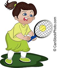 Vector of angry girl playing tennis.