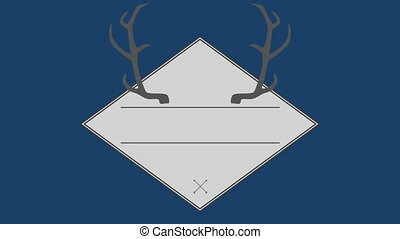Vector of antler in square against blue background