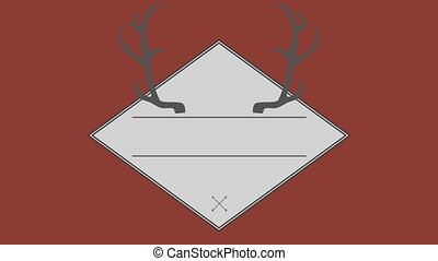Vector of antler in square against brown background