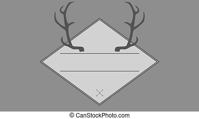 Vector of antler in square against gray background