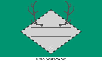 Vector of antler in square against green background