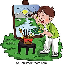 Vector of artist painting. - Vector illustration of a...