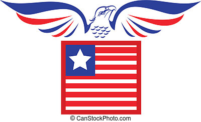 Vector of bald Eagle and flag icon vector