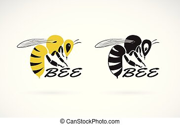 Vector of bee design on white background. Insect. Animals. Easy editable layered vector illustration.