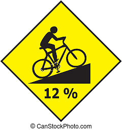 Bicycle Traffic Sign Show Uphill Sl - Vector of Bicycle...