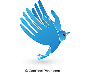 Vector of bird with hands wings. Symbolic icon design
