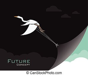Vector of birds(Egret or Heron) changing reality. Future...