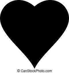 Vector of black heart icon illustration isolated on white background.