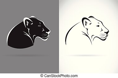 Vector of black panther on white background and gray background. Wild Animals. Easy editable layered vector illustration.