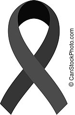 Vector of Black ribbon on white background. Mourning symbol.