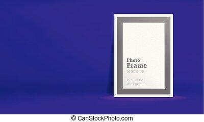 Vector of Blank Photo Frame in vivid violet studio room,...