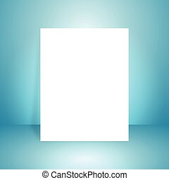 Vector of blue empty studio room background with white paper, template mock up for display of content or product