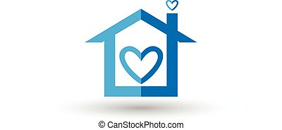 Vector of blue house heart logo