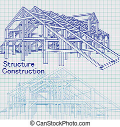 Blue print architect - Vector of Blue print architect