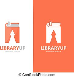 Vector of book and arrow up logo combination. Library and growth symbol or icon. Unique encyclopedia and bookstore logotype design template.