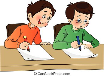 Vector of boy copying from other student's paper.