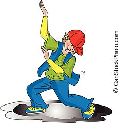 Vector of boy dancing.
