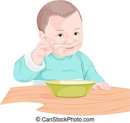 Vector of boy eating food with spoon.