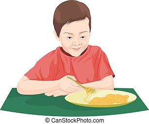 Vector of boy eating noodles.