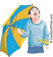 Vector of boy enjoying rainfall.