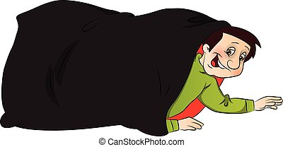 Vector of boy hiding in sack.