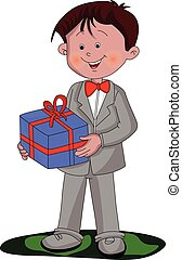 Vector of boy holding a gift box.