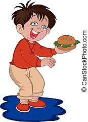 Vector of boy holding burger.