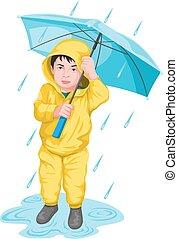Vector of boy holding umbrella.