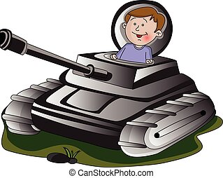 Vector of boy in army tank.