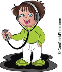Vector of boy listening to music on headphones.