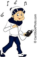Vector of boy listening to music on mp3 player. - Vector...