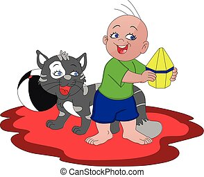 Vector of boy playing with cat.