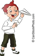 Vector of boy playing with paper rocket.