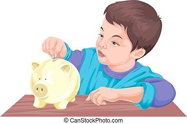 Vector of boy saving money in piggy bank.