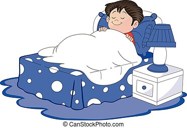 Vector of boy sleeping in bed.
