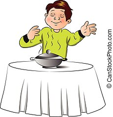 Vector of boy smelling the food on table.