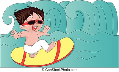 Vector of boy surfing.