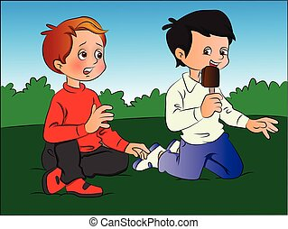 Vector of boy teasing friend for ice cream.