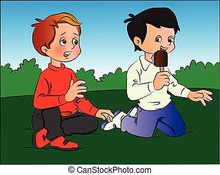 Vector of boy teasing friend for ice cream.