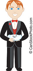 Vector of boy with rings and pillow. Ring Bearer