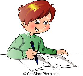 Vector of boy writing in book.