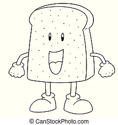 vector of bread cartoon