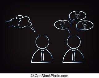 vector of business men exchanging ideas