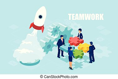 Vector of business people holding puzzle pieces