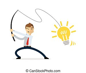 Vector of businessman fishing ideas
