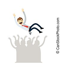 Vector of Businessman lifted by his co workers - Ready to...