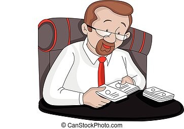 Vector of businessman removing cards from cover.