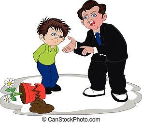 Vector of businessman scolding his son for broken flower pot.